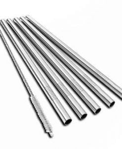 Stainless Steel Straws 21.5cm long in a pack of 4 with a cleaning brush