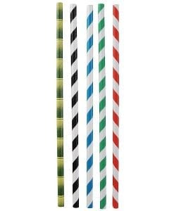 Paper Striped Straws - 196Mm long - Various colours - Eco-friendly.
