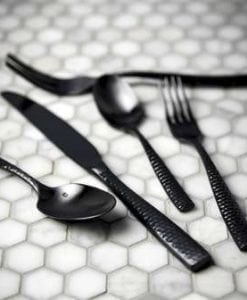 lucca brushed black faceted cutlery