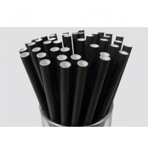 Paper Cocktail Straws - 135Mm long - 6Mm Diameter - Available in Black, Blue, Kraft, and White.